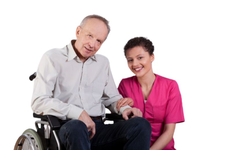 caregiver and senior laughing